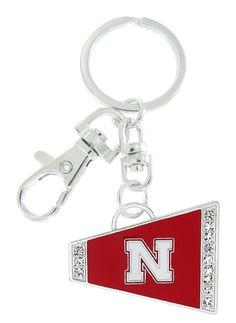 Red Nebraska N Cheer Megaphone Key Chain