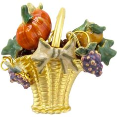 Vintage Basket of Enameled Harvest Brooch offered by Ruby Lane shop 2Hearts Uptown Jewelry & Accessories.
