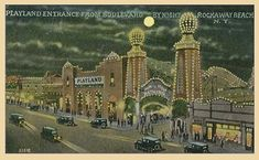Rockaway's Playland by night - c.1930