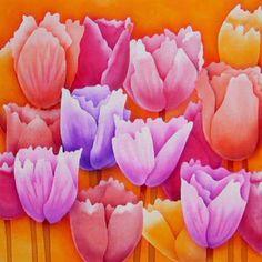 Silk Painting Tulip Parade