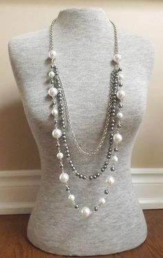 Long Pearl Necklace Opera Length Necklace Rope by hookandline