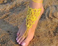 Crochet amarillo sandalias Descalzas, joyería, regalo de la Dama de honor, pies descalzos sandles, playa, tobillera, boda, boda en playa, verano de los zapatos