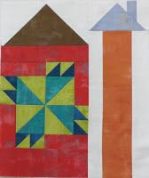 Here's my block 2 for Moda's Be My Neighbor quilt. It looks to me like it's a barn with a quilt painted on the side. Pick up your pattern...