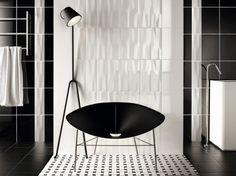Black white ceramic tile interior design