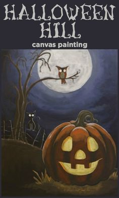 halloween painting on canvas Canvas Painting Designs, Fall Canvas Painting, Autumn Painting, Canvas Designs, Canvas Art, Canvas Paintings, Diy Canvas, Halloween Canvas, Halloween Rocks