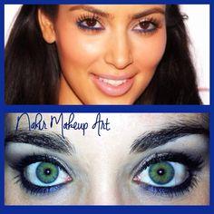 """Maquillaje """"pop of color"""" inspirado en la guapisima Kim Kardashian!  En este maquillaje toda la atención recae sobre la línea de agua en un color azul eléctrico muy favorecedor, sobre todo a las personas de ojos marrones u oscuros"""