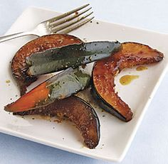 ACORN SQUASH WITH ROSEMARY AND BROWN SUGAR  http://www.finecooking.com/recipes/acorn-squash-rosemary-brown-sugar.aspx