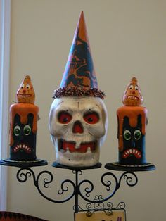 8d3ae22cc92 Paper Mache Skull Lantern with hand painted canvas hat. Two paper mache  candle candy containers. Halloween ...