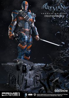 """The only way this ends is with death. Yours or mine."" Sideshow Collectibles and Prime 1 Studio are proud to present Deathstroke from Batman: Arkham Origins. Once part of an experimental super-soldier"