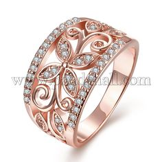 Hollow Flower 18K Real Rose Gold Plated Brass Cubic Zirconia Rings for Women