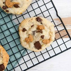 Chunky Monkey Cookies (Vegan, Oil-Free, Sugar-Free) on a cooling rack