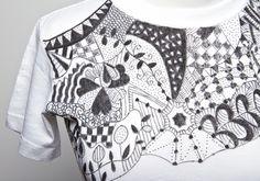 zentangle shirt white on black - Google Search