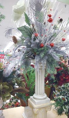 Holiday Pillar Arrangement, A.C. Moore Montgomeryville, PA