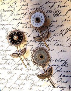 Steampunk Flower Pin, Steampunk Brooch, Steampunk Vintage, Steampunk Pin, Flower Brooch, Vintage Watch Parts, Steampunk Flower by FernStreetDesigns on Etsy https://www.etsy.com/listing/170880516/steampunk-flower-pin-steampunk-brooch
