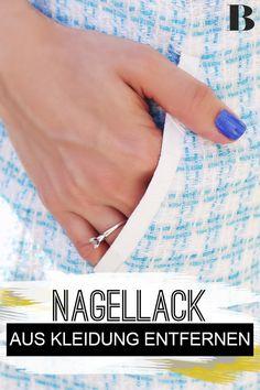 Nagellack aus Kleidung entfernen: So geht's. Nagellack kann lästige Flecken hinterlassen. Erfahre hier, wie du ganz einfach Nagellack aus Kleidung entfernen kannst. #nagellack #haushalt #wäsche #flecken Engagement Rings, Cleaning Suede, Hair Sprays, Helpful Tips, Home Remedies, Linen Fabric, Textiles, Household, Enagement Rings