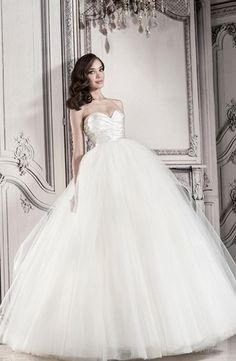 Sweetheart Princess/Ball Gown Wedding Dress  with Empire Waist in Tulle. Bridal Gown Style Number:32848202