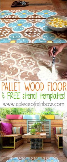 DIY Stenciled Pallet Wood Floor / Doormat  Incredibly  creative use of pallet wood! Please share!