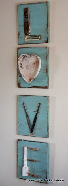 Love letters repurposed junk letters http://bec4-beyondthepicketfence.blogspot.com/