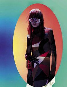 Molly Bair wear Strange glasses pose on Vogue Italia Magazine September 2015 photoshoot