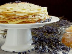 Lavender mille crepe (a cake made of many layers of crepe), with honey and vanilla pastry cream. Oh, my! (And it's okay to substitute a teaspoon of vanilla for the vanilla bean, adding it after you remove the cream from the heat.)