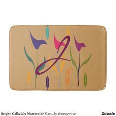 Bright  Calla Lily Watercolor Floral Monogrammed Bath Mat