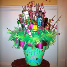 birthday idea with 21 mini liquor bottles! Feel free to give the gift that just keeps giving for my birthday friends! 21st Birthday Gifts, Birthday Parties, 21 Birthday, Birthday Ideas, Birthday Shots, Birthday Basket, Happy Birthday, Birthday Beer, 21st Party