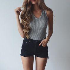 knit tank + black denim shorts #charlotterusse #topshop