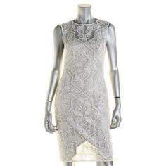 Tadashi Shoji Womens Metallic Embroidered Cocktail Dress, Women's, Size: 4, Silver