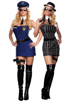 Sexy Cop Costume | Reversible Sexy Cop/Gangster Costume