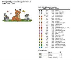 Bambi Disney, Disney Cross Stitch Patterns, Stitch Cartoon, Stitch 2, Diy Crafts, Sewing, Animals, Colouring In, Colors