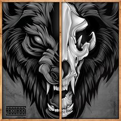 Werewolf head and skull reference Wolf Illustration, Graphic Illustration, Angry Wolf, Demon Wolf, Wolf Artwork, Werewolf Art, Classic Monsters, Animal Totems, Fantastic Art