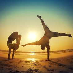 Sunset handstands in Goa with @mattexp  It is always exciting to me when a student takes on the practice, does the inner work and embraces the journey. After lots of practice this week Matt accomplished something really amazing in practice, dropping back into Urdhva Dhanurasana  Yoga makes the strong ones flexible, the flexible ones strong and everyone kind and compassionate #onebreathatatime