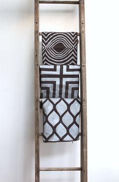 Aya metallic silver & brown hand printed organic hemp pillow cover 20x20 by melongings studio via Etsy.