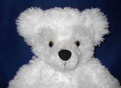 Disney Pre-Duffy Hidden Mickey Bear, White & Gray Plush with Brown Eyes
