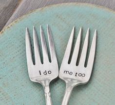 this is a unique idea for the 'wedding cake' .... mismatched vintage forks that are engraved. How easy would it be to go to a thrift store or yard sake to pick these up, and take them for engraving yourself? - Click image to find more Weddings Pinterest pins
