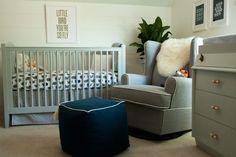 Beautiful all gray nursery furniture.