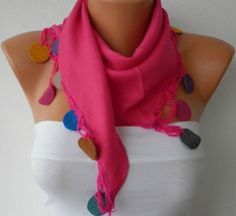Pashmina  Scarf  - Headband Necklace Cowl Scarves with Lace Leather Edge - Pink. $20.00, via Etsy.