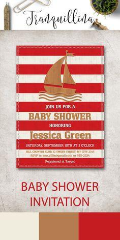 Boy Baby Shower Invitation Printable, Nautical Baby Shower Invitation, Nautical…