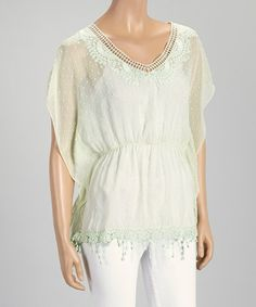 Look what I found on #zulily! Mint Sheer Embroidered Cape-Sleeve Top - Women by Farinelli #zulilyfinds