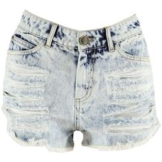 Boohoo Demi Acid Wash Denim Hotpants (€18) ❤ liked on Polyvore