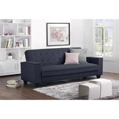 The Union Linen Futon from DHP offers more than meets the eye classic design and modern day functionality. The ultimate in futon design, the Union has wide arms that lift and swivel out so you can easily place your laptop.