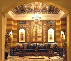 Syrian homes. Intricate details with the use of carved stones and wood and the most precious of mother of pearl inlays.