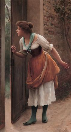 The Eavesdropper by Eugene de Blaas-everything about this is beautiful