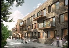 DLA Architecture has scooped planning approval for 58 homes next to St John at Hackney church in east London Brick Architecture, London Architecture, Georgian Terrace, David Chipperfield Architects, Tower Block, Social Housing, Church Design, Affordable Housing, Brutalist