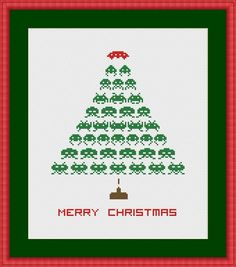 Space Invaders Christmas Tree Cross Stitch Pattern | Craftsy