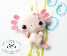 Amby the Axolotl PDF pattern axolotl plush-DIY-Nursery image 0 Cute Diys, Cute Crafts, Felt Crafts, Diy Crafts Kawaii, Pot Mason Diy, Mason Jar Crafts, Sewing Stuffed Animals, Stuffed Toys Patterns, Diy Nursery Decor