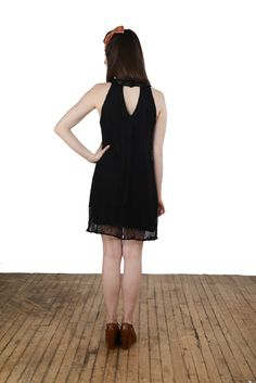"""Back view to the sleek """"Put on a Happy Lace"""" dress."""