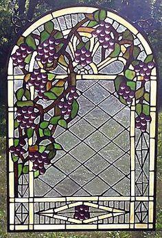 Grapevine Pergola Stained Glass Window SM35