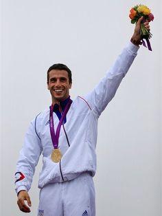Tony Estanguet of France wins in the Canoe Slalom