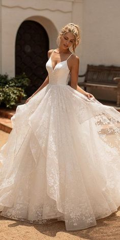 Hottest Wedding Dresses Collections for 2020/2021 ❤ best wedding dresses a line with straps lace ruffled skirt moonlight #weddingforward #wedding #bride